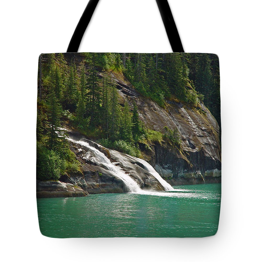Waterfall Tote Bag featuring the photograph Alaska Tracy Arm by Heather Coen