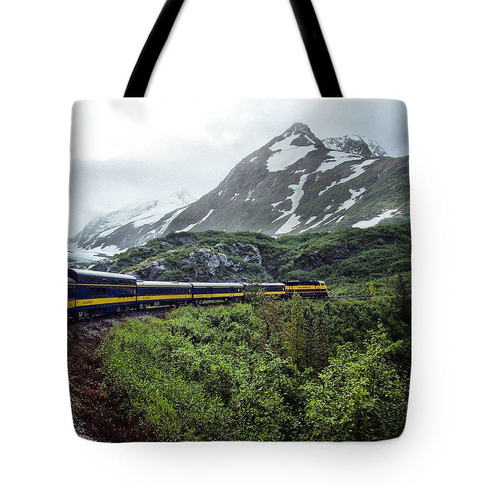 Mountain Tote Bag featuring the photograph Alaska Train by Gary Wilson