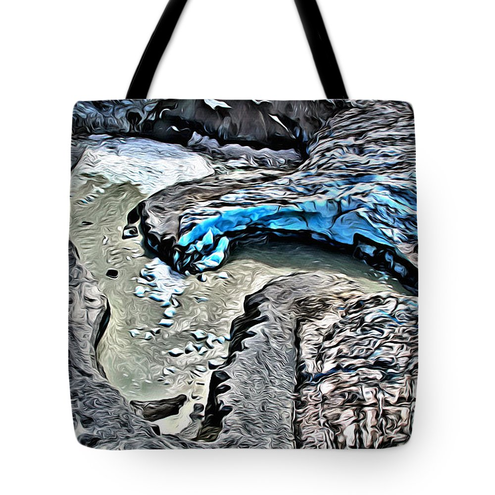 Glacier Tote Bag featuring the digital art Alaskan Glacier by Anthony C Chen