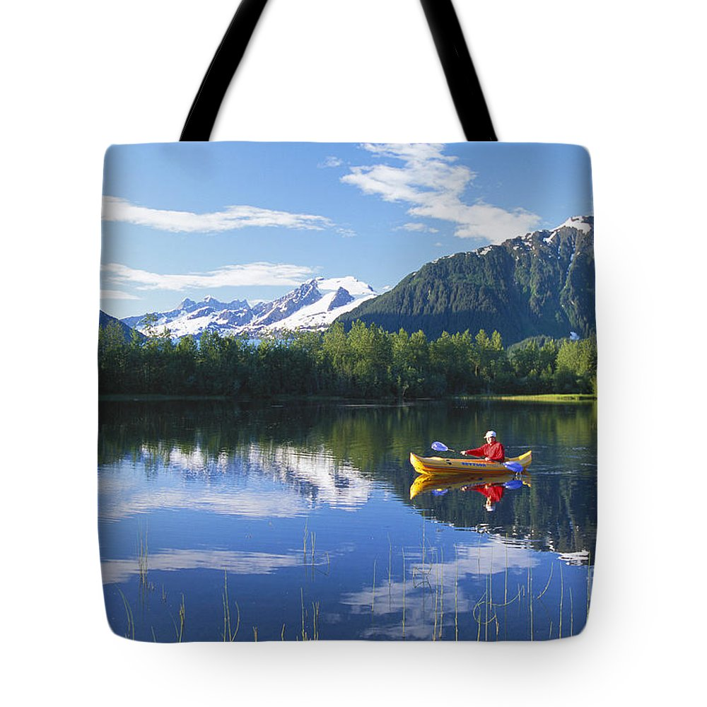 Active Tote Bag featuring the photograph Alaskan Kayaker by John Hyde - Printscapes
