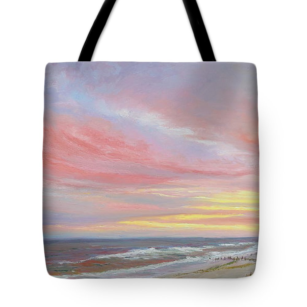Seascape Tote Bag featuring the painting Alberta's Sunset by Lea Novak