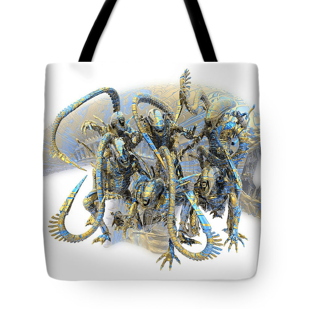 Alien Tote Bag featuring the digital art Aleens Family by Nandor Volovo