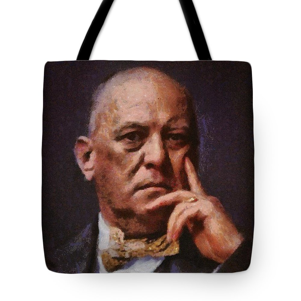 Temple Tote Bag featuring the painting Aleister Crowley, Infamous Occultist by Mary Bassett