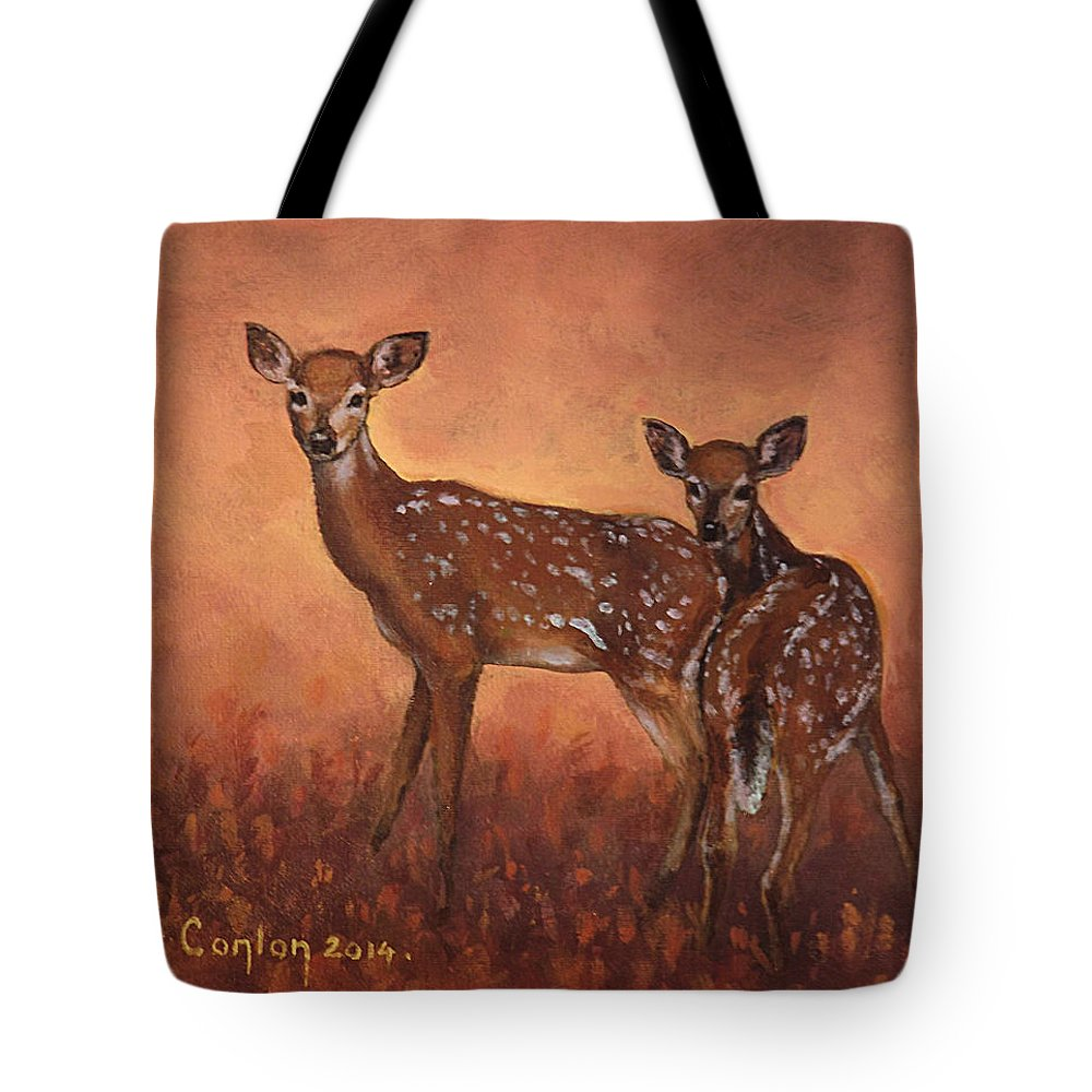 Fawns Tote Bag featuring the painting Alertness by Sean Conlon