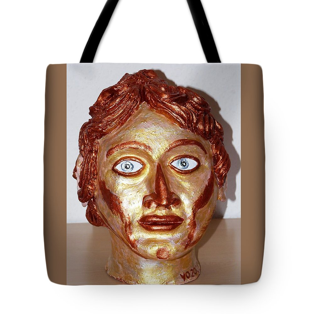 Alexander Tote Bag featuring the sculpture Alexander The Great by Valerie Ornstein