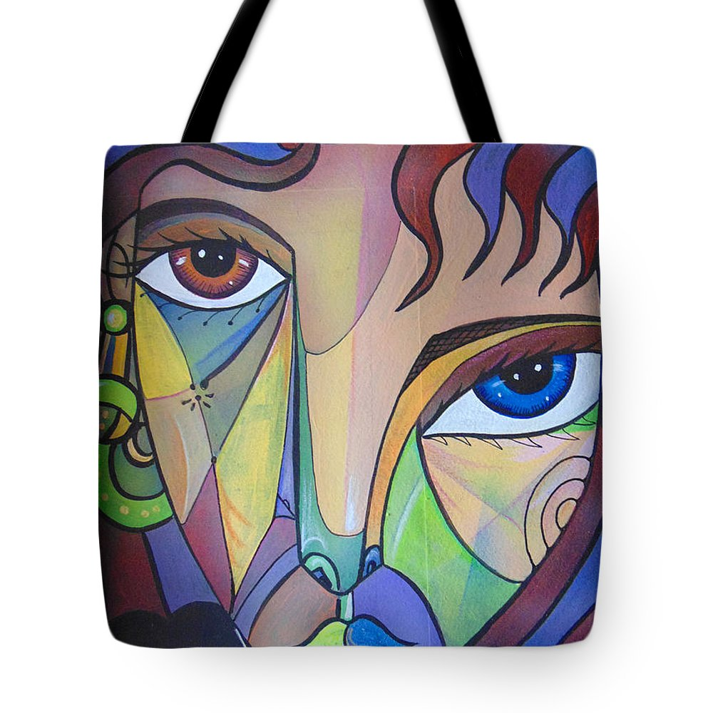 Portrait. Cubism Pop Woman Face Art Deco Tote Bag featuring the painting Alexandra by Ricardo Maya
