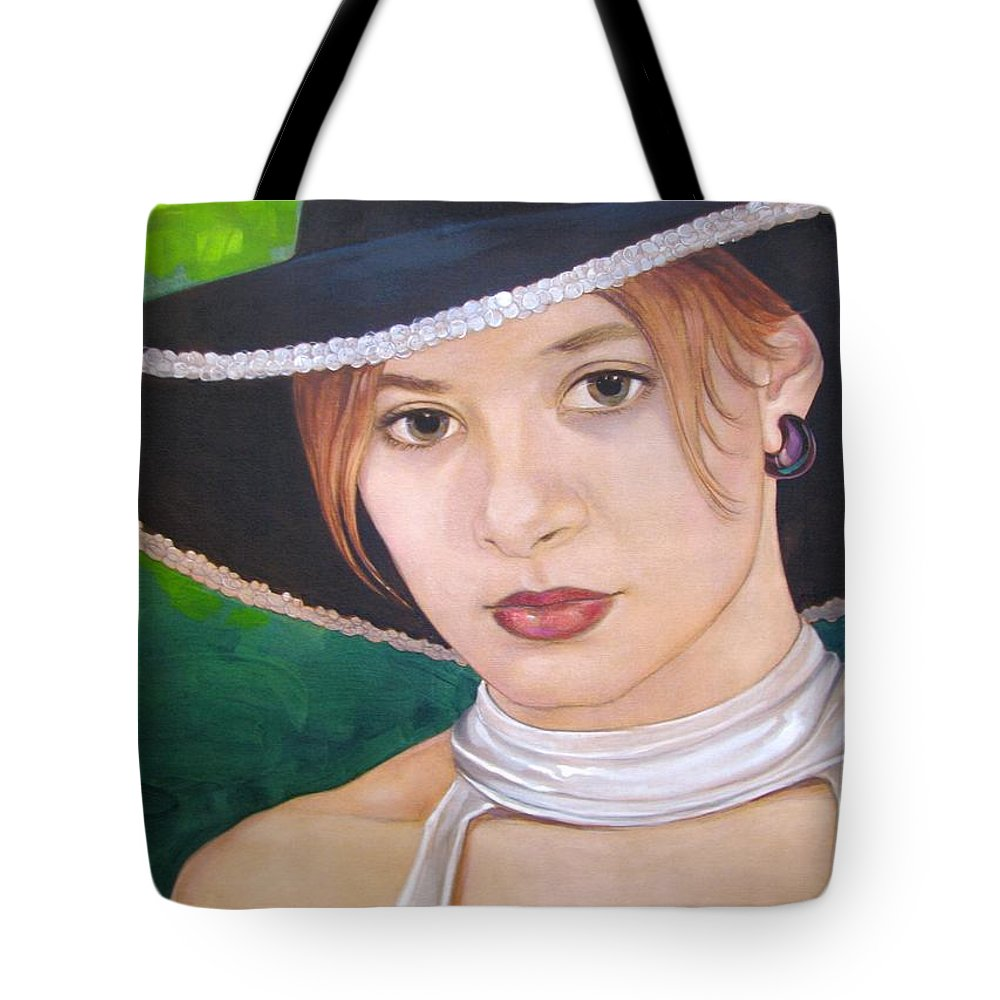 Pretty Girl Tote Bag featuring the painting Alexis by Jerrold Carton