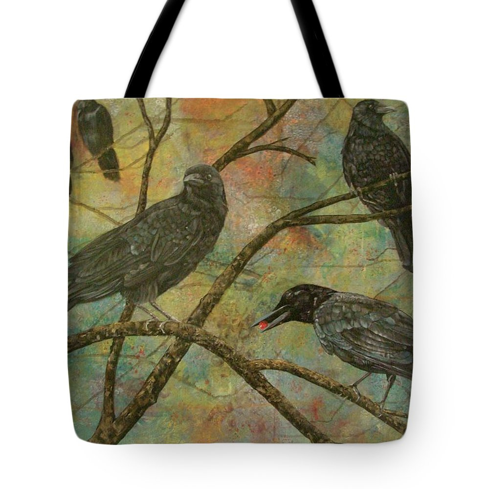 Crows Tote Bag featuring the painting Alex's Crows by Cynthia Snider