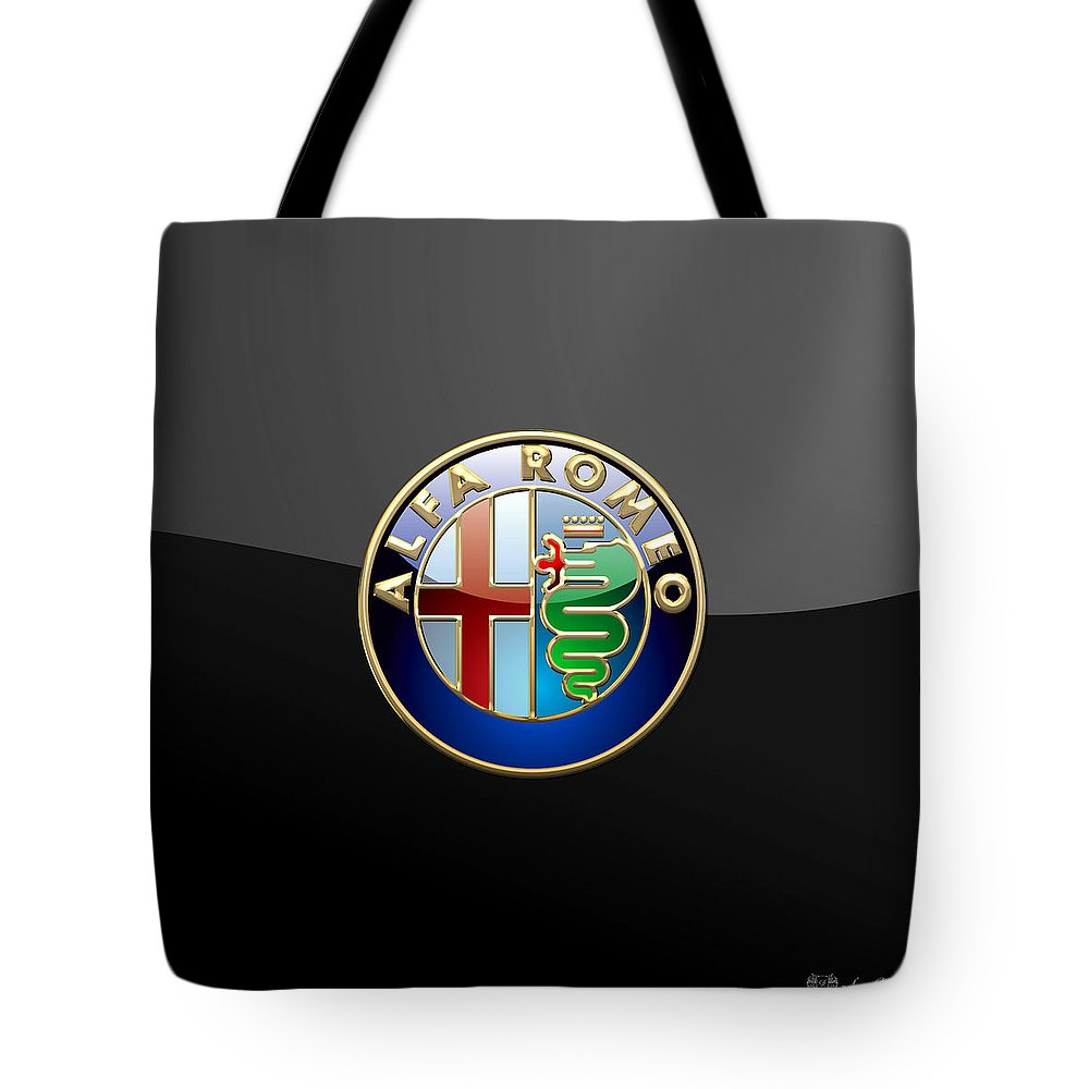 Wheels Of Fortune� Collection By Serge Averbukh Tote Bag featuring the photograph Alfa Romeo - 3 D Badge on Black by Serge Averbukh