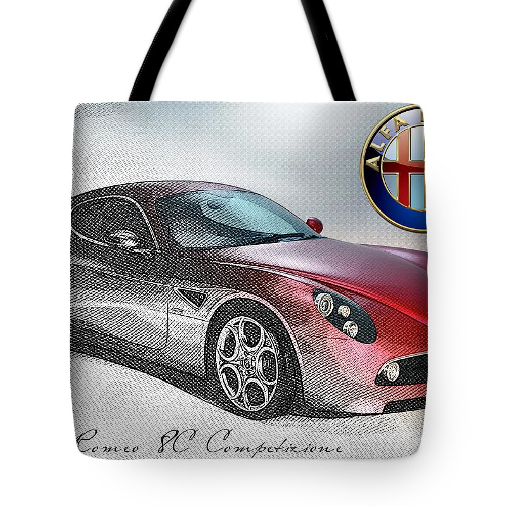 Wheels Of Fortune By Serge Averbukh Tote Bag featuring the photograph Alfa Romeo 8C Competizione by Serge Averbukh