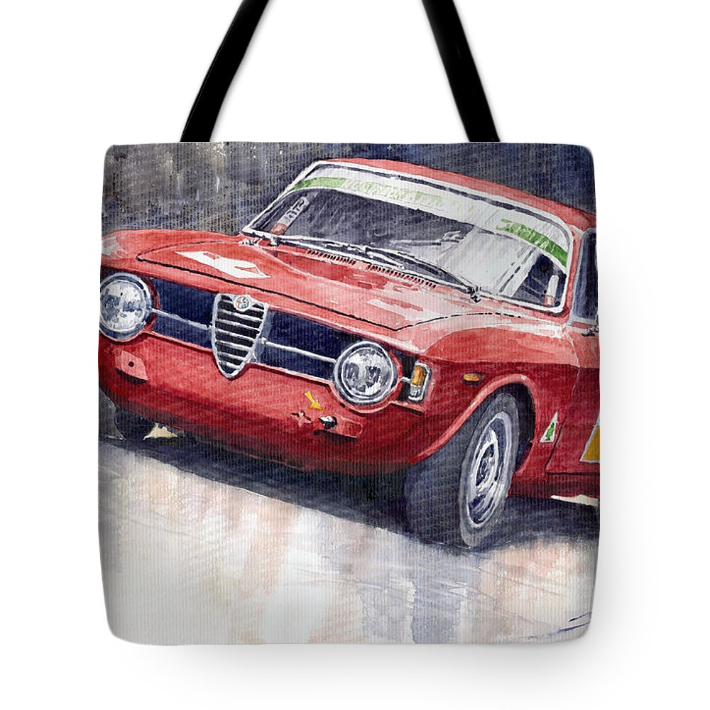 Watercolor Tote Bag featuring the painting Alfa Romeo Giulie Sprint Gt 1966 by Yuriy Shevchuk