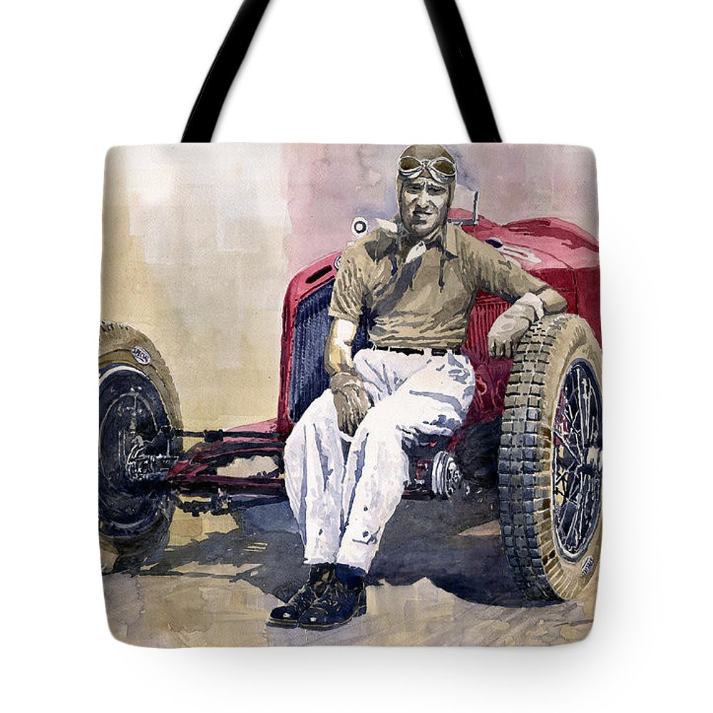 Watercolor Tote Bag featuring the painting Alfa Romeo Monza Tazio Nuvolari  1932 by Yuriy Shevchuk d7e1aeb5628