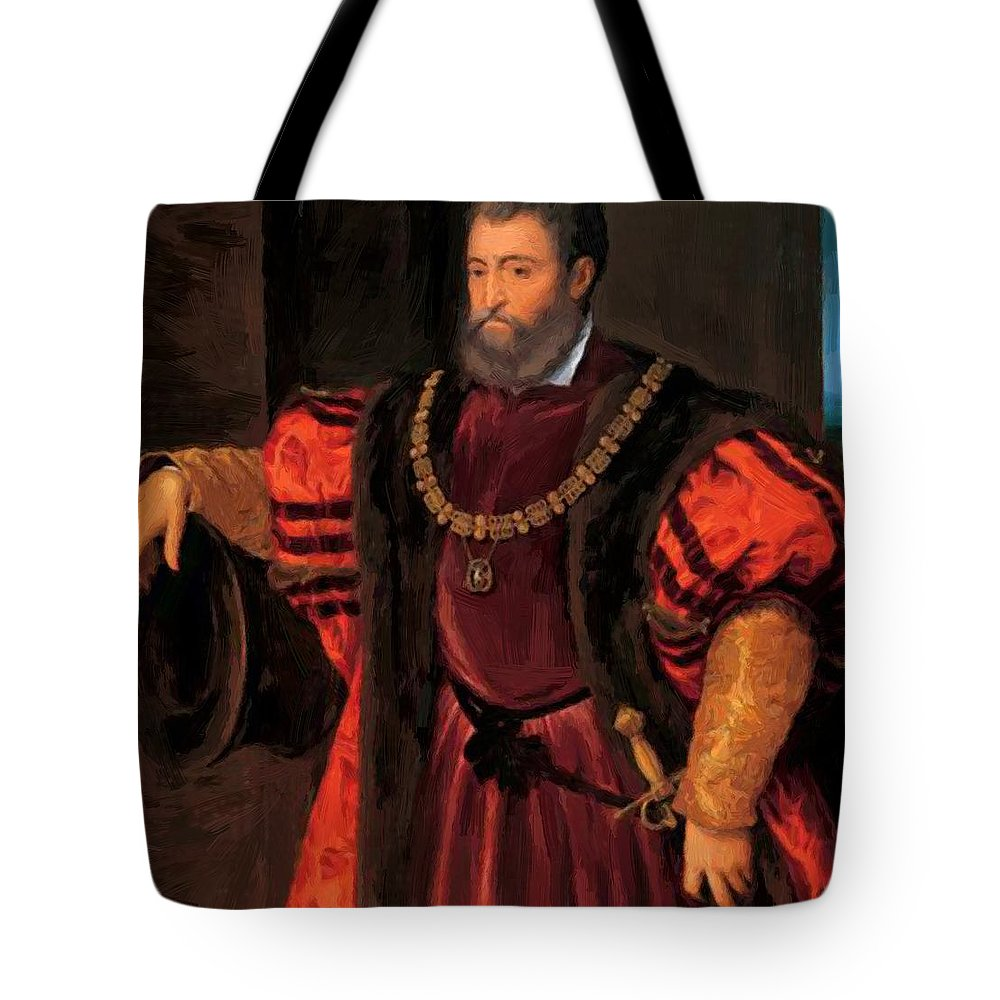 Alfonso Tote Bag featuring the painting Alfonso D Este by Dossi Dosso