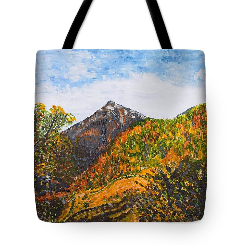 Landscape Tote Bag featuring the painting Algund View by Valerie Ornstein