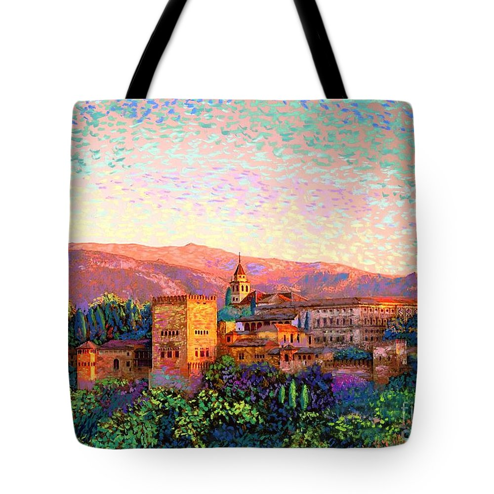 Spain Tote Bag featuring the painting Alhambra, Granada, Spain by Jane Small