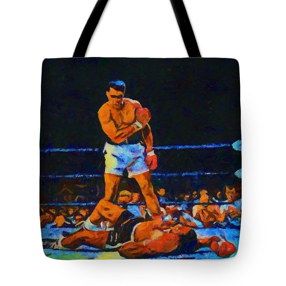 Ali Over Liston Tote Bag featuring the painting Ali Over Liston by Dan Sproul