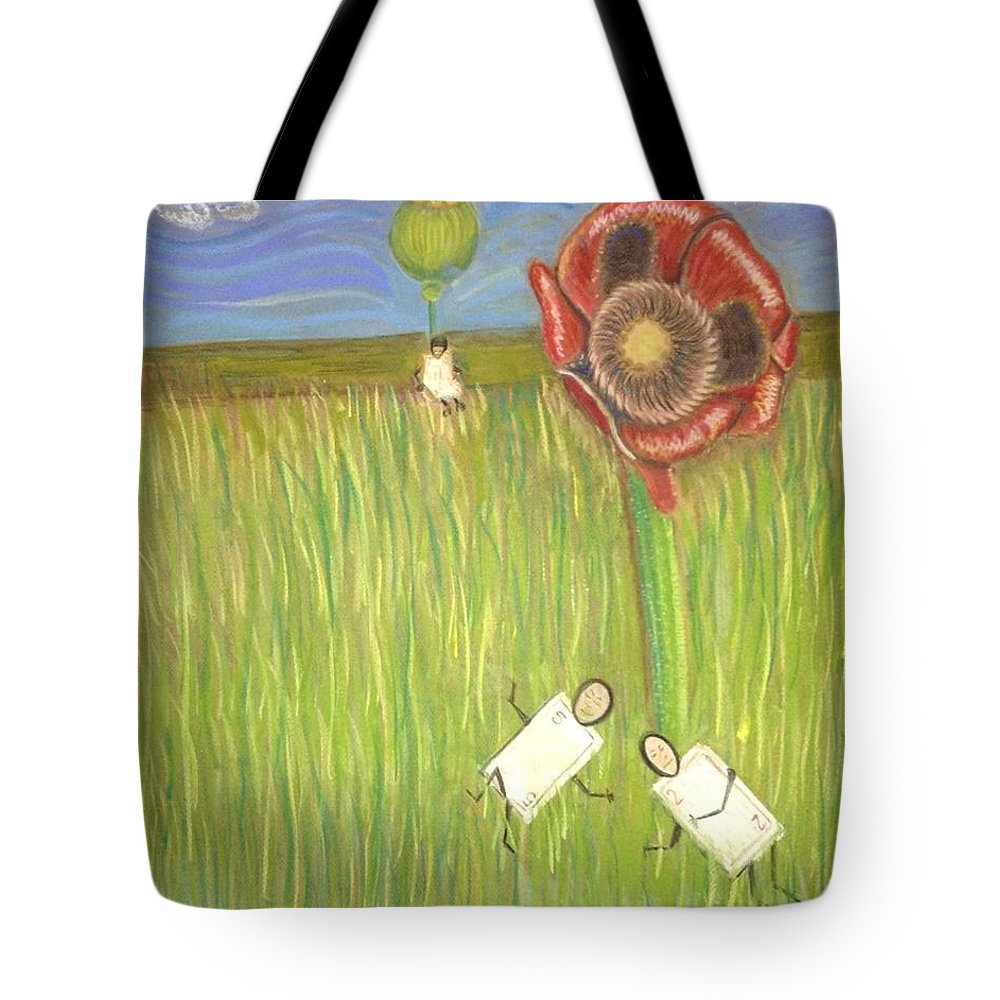 Poppies Tote Bag featuring the drawing Alice In Oz by Regina Jeffers