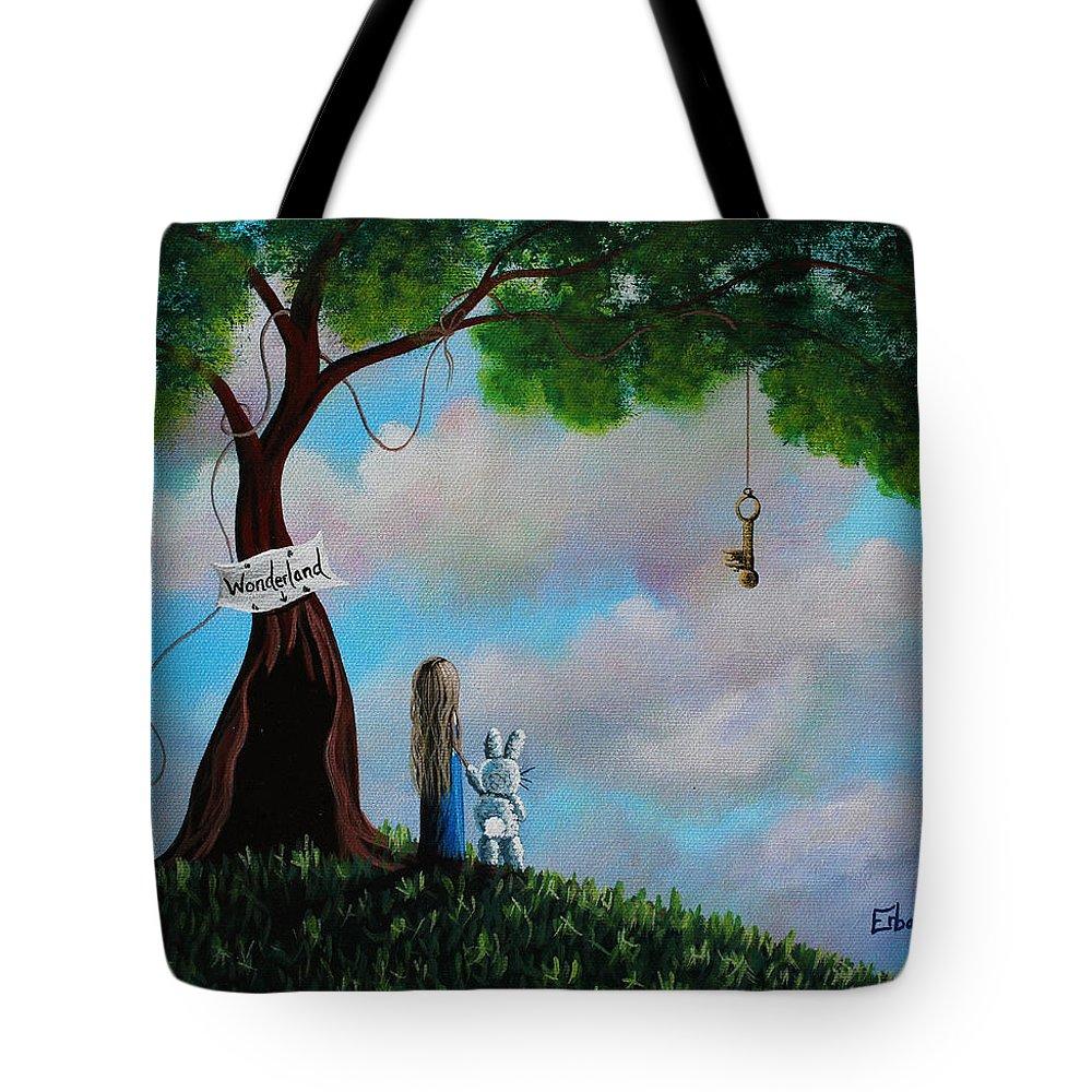 Alice In Wonderland Tote Bag featuring the painting Alice In Wonderland by Erback Art