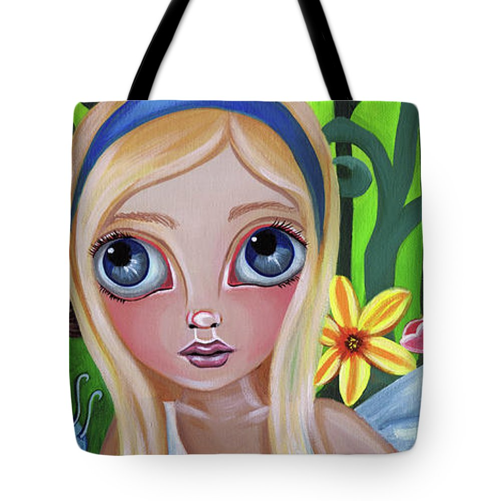 Alice Tote Bag featuring the painting Alice Meets The Caterpillar by Jaz Higgins