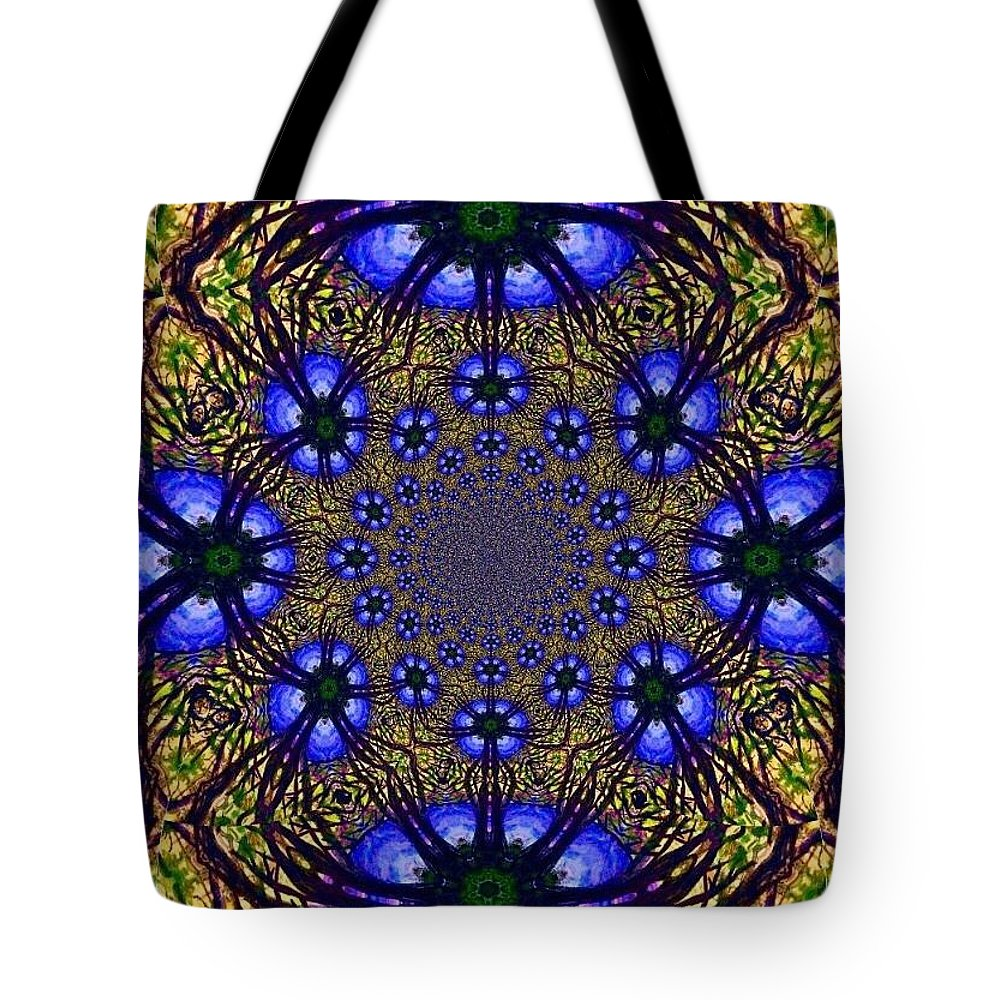 Blue And Yellow Tote Bag featuring the digital art Blue Abstract by Anne Sands
