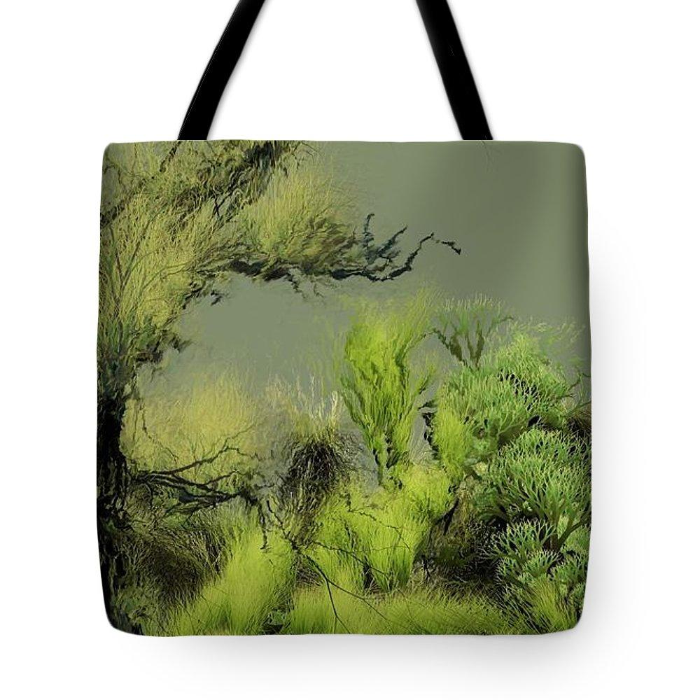 Digital Fantasy Painting Tote Bag featuring the digital art Alien Garden 2 by David Lane