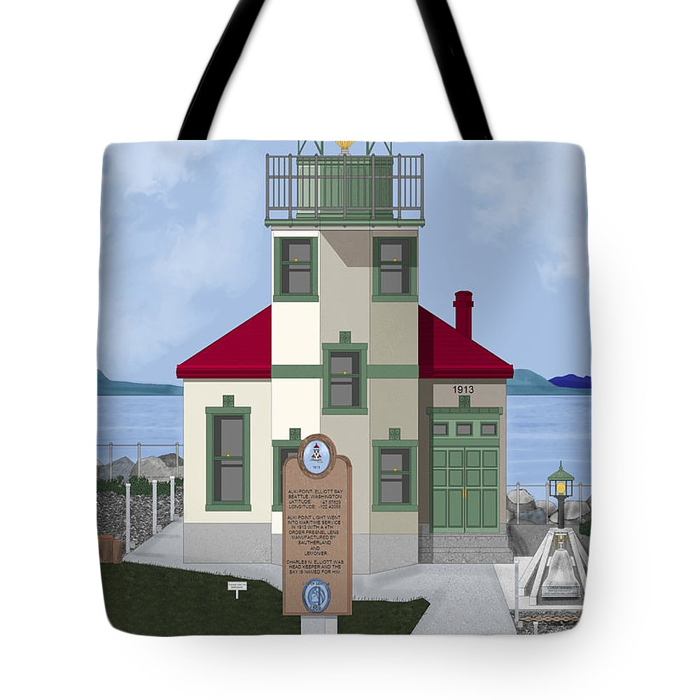 Lighthouse Tote Bag featuring the painting Alki Point On Elliott Bay by Anne Norskog
