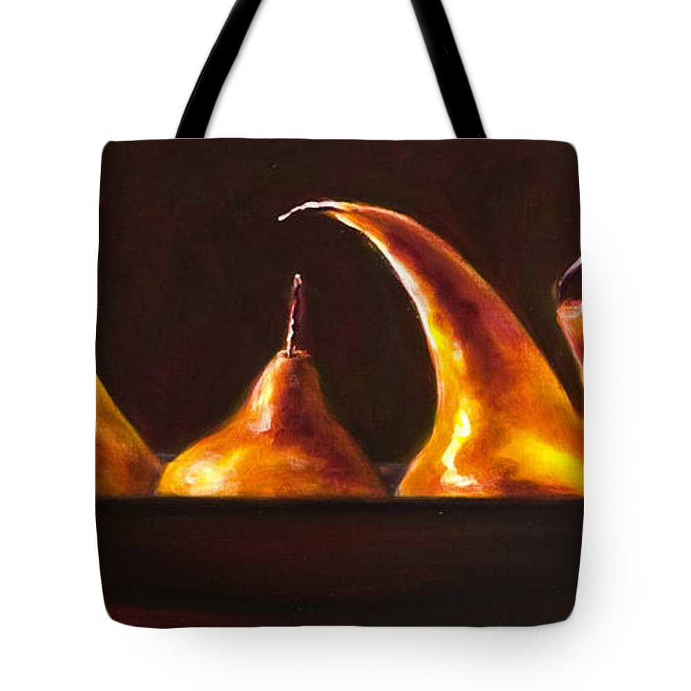Pears Tote Bag featuring the painting All Aboard by Shannon Grissom