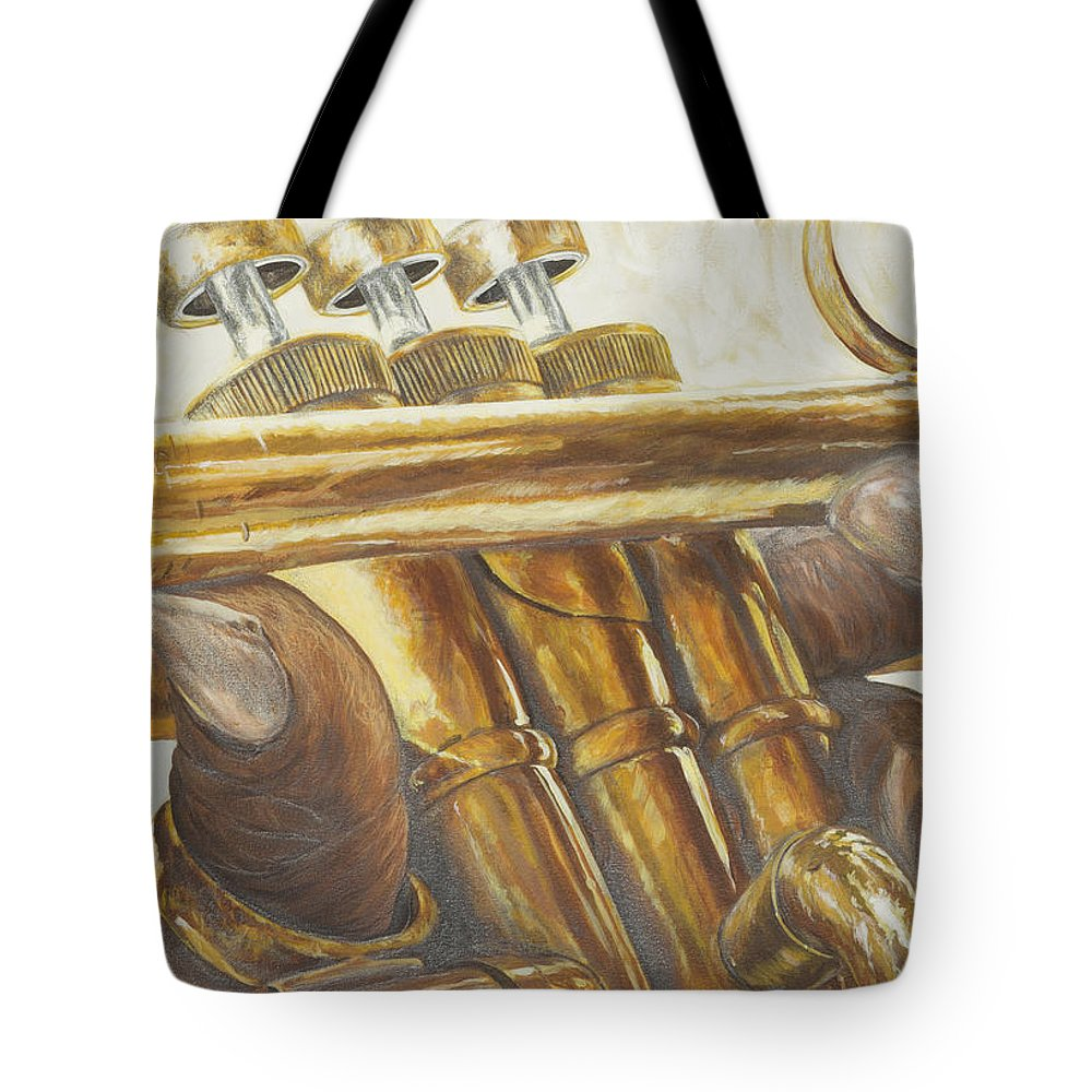 Jazz Tote Bag featuring the painting All About The Brass by Roger W Price