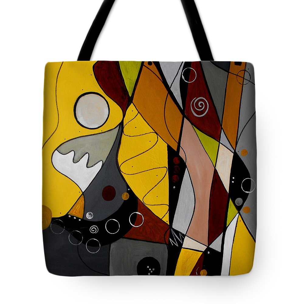Abstract Tote Bag featuring the painting All Hands On Deck by Ruth Palmer