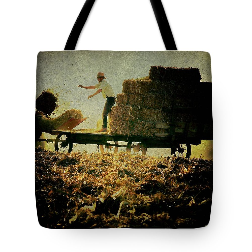 Amish Tote Bag featuring the photograph All In A Day's Work by Trish Tritz