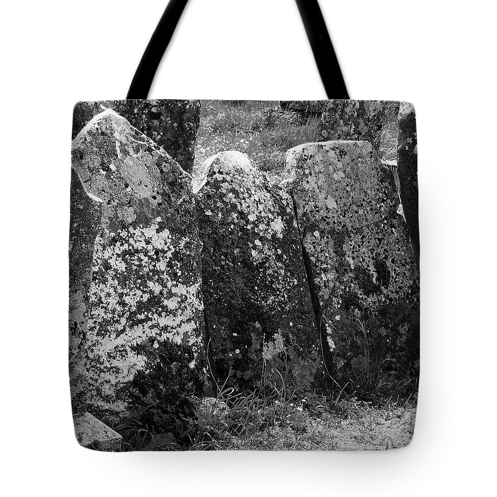 Ireland Tote Bag featuring the photograph All In A Row At Fuerty Cemetery Roscommon Ireland by Teresa Mucha