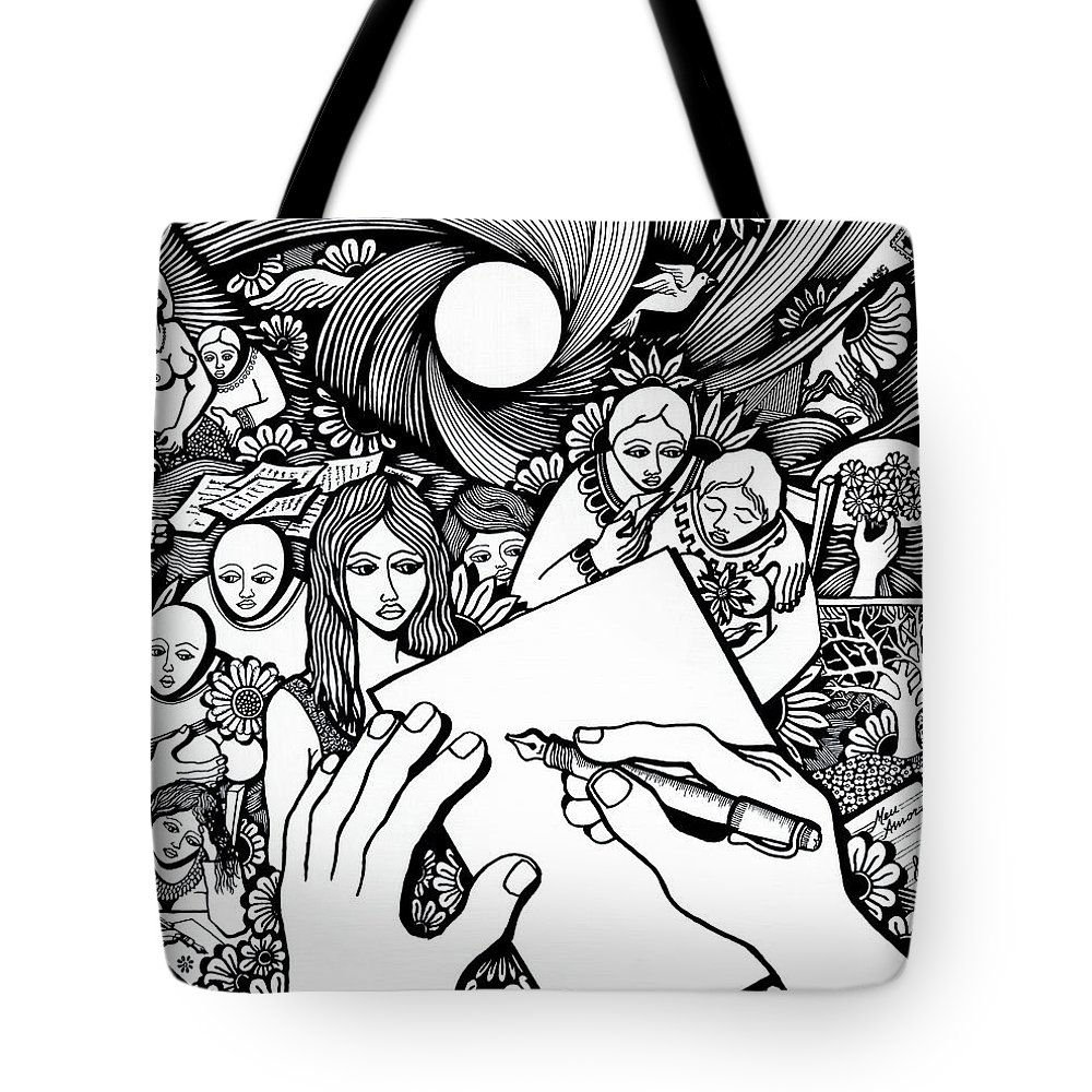 Drawing Tote Bag featuring the drawing All Love Letters Are Ridiculous by Jose Alberto Gomes Pereira