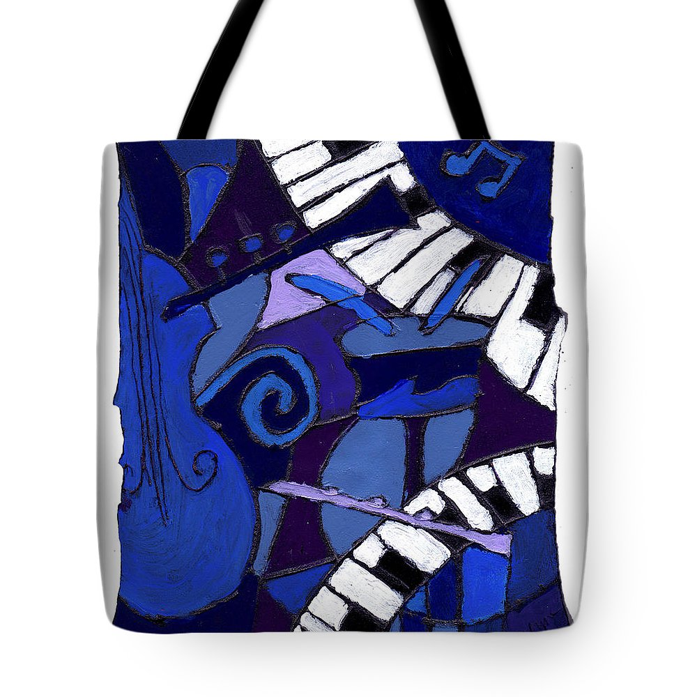 Jazz Tote Bag featuring the painting All That Jazz 3 by Wayne Potrafka