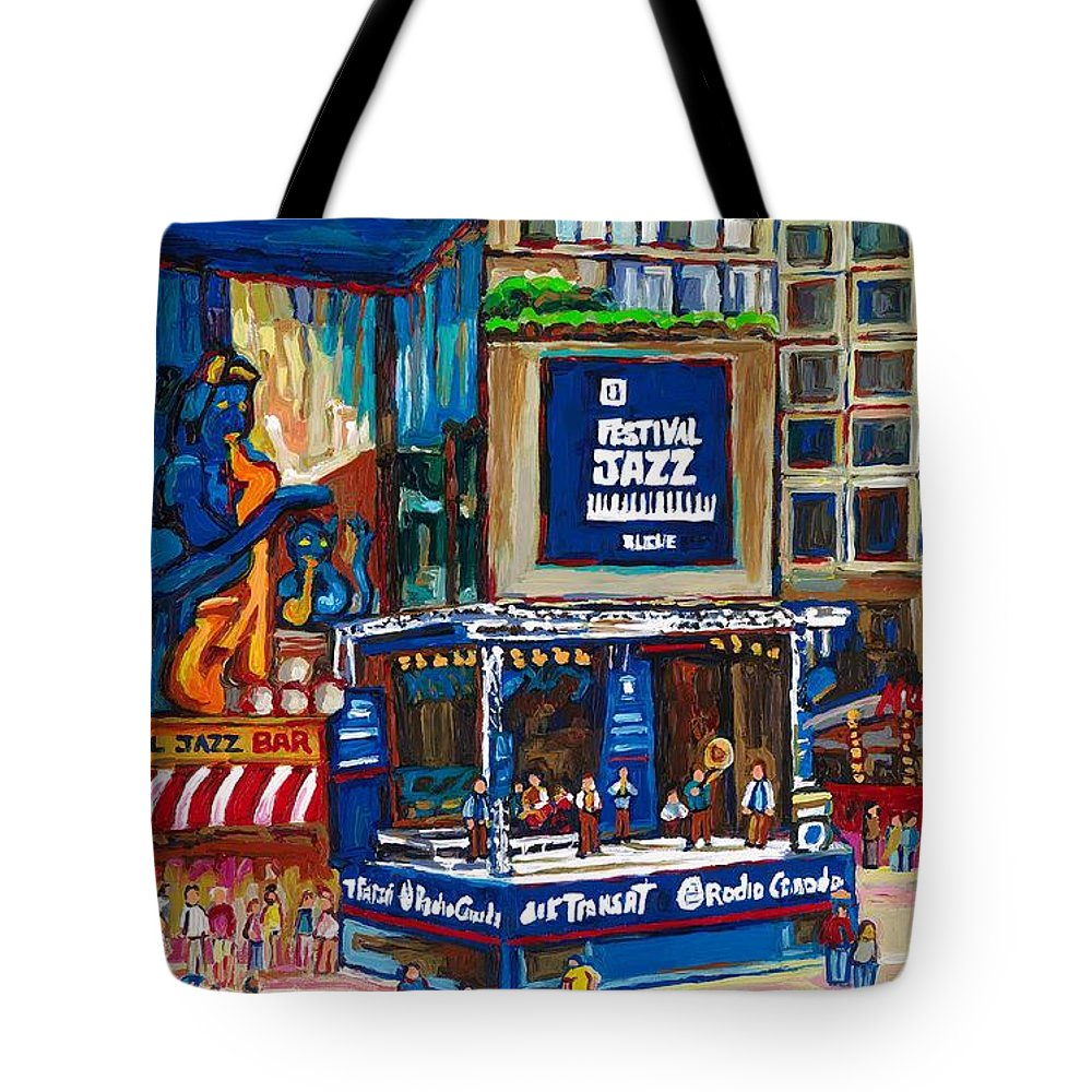 Montreal Tote Bag featuring the painting All That Jazz by Carole Spandau
