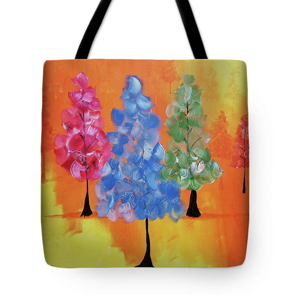 Acrylic Tote Bag featuring the painting All The Pretty Colors II by Kelly M Sockwell