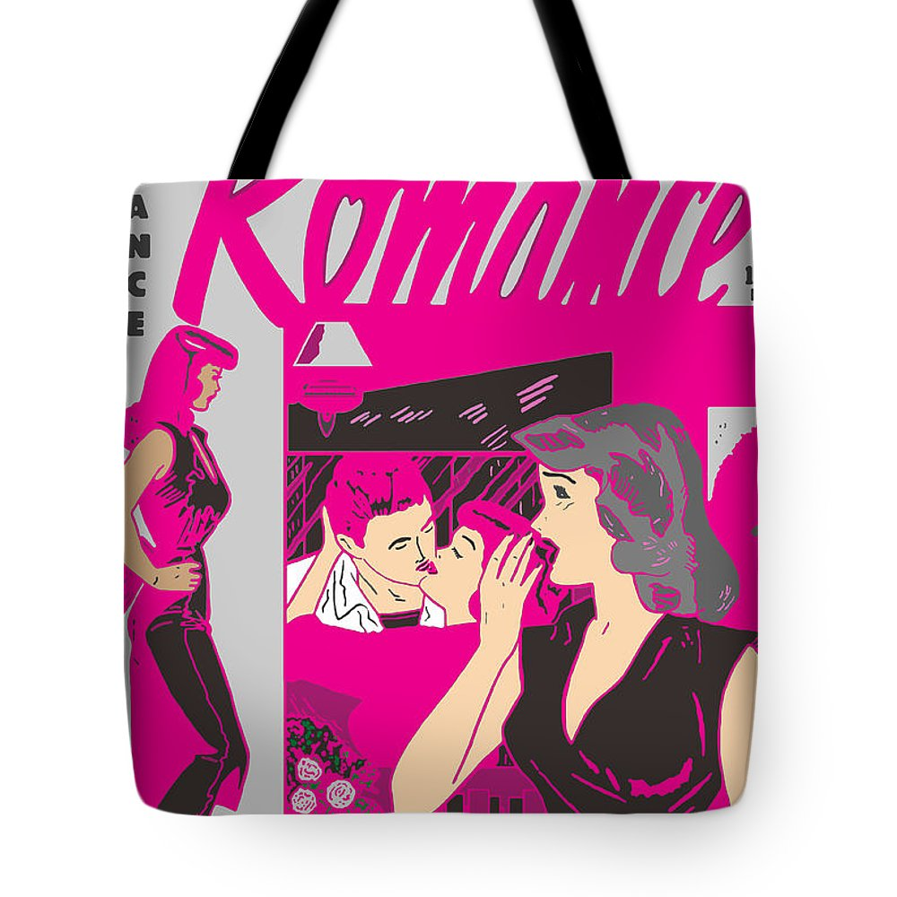 Comic Tote Bag featuring the digital art All True Romances 5 Pinks by Joy McKenzie