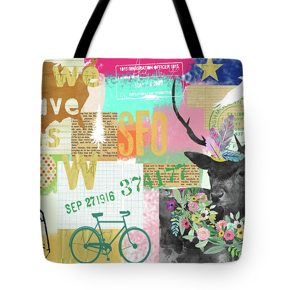 All We Have Is Now Tote Bag featuring the mixed media All We Have Is Now by Claudia Schoen
