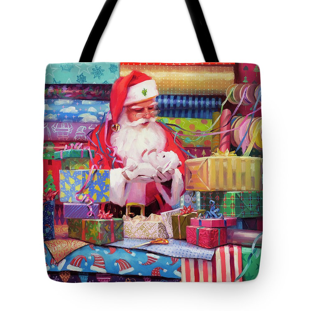 Holiday Tote Bag featuring the painting All Wrapped Up by Steve Henderson