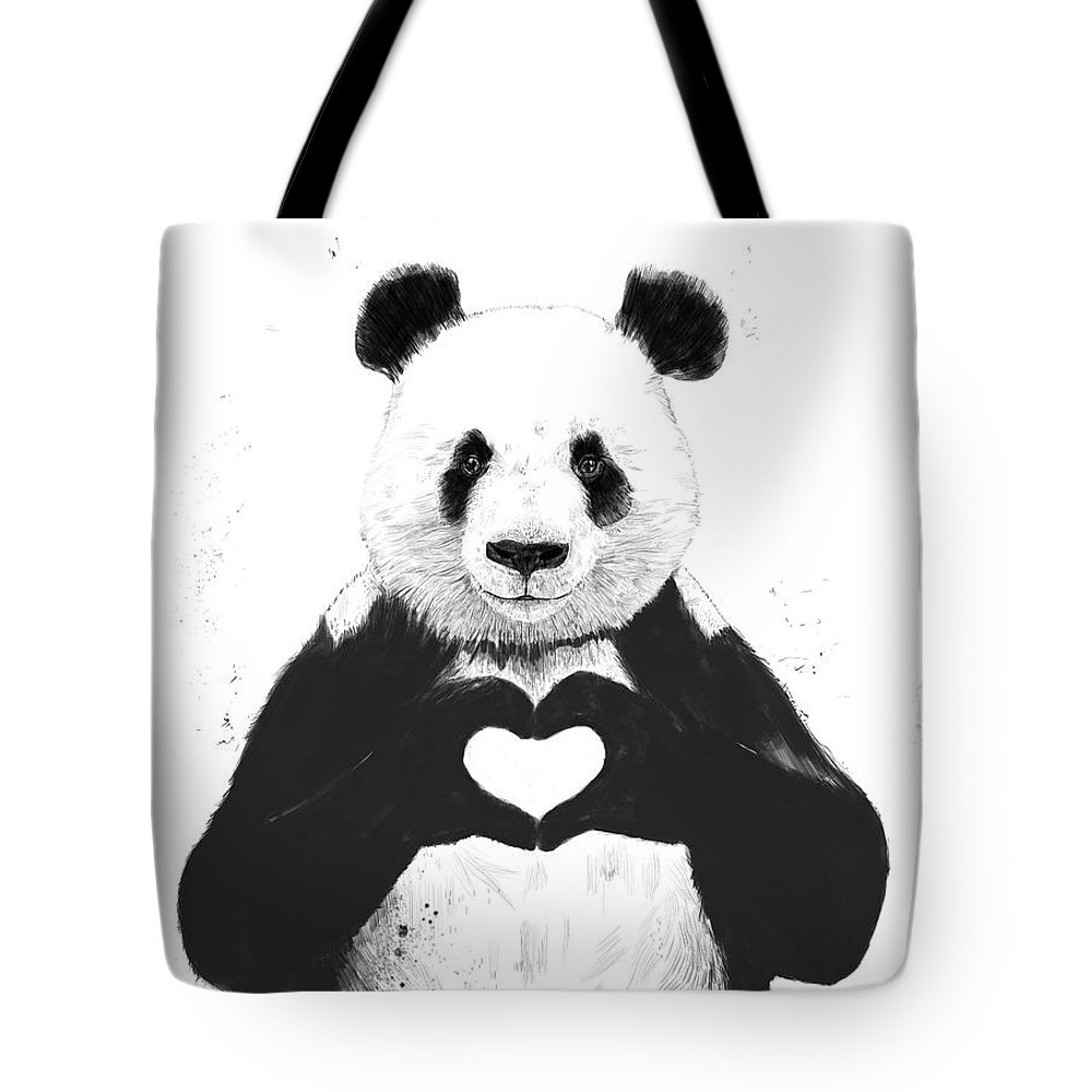 Panda Tote Bag featuring the mixed media All You Need Is Love by Balazs Solti