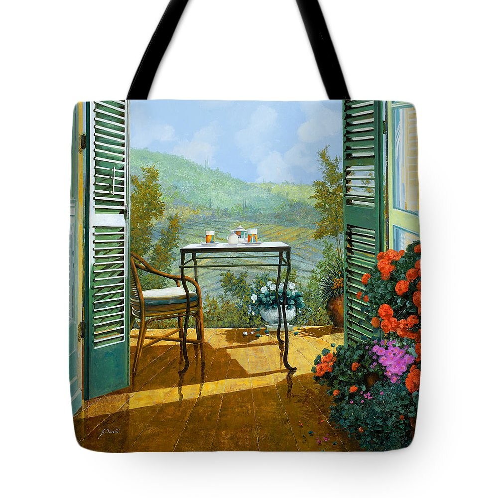 Terrace Tote Bag featuring the painting Alle Dieci Del Mattino by Guido Borelli