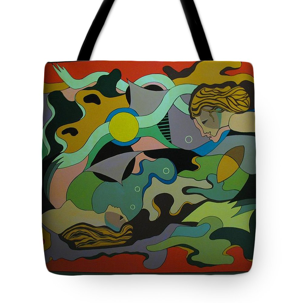 Abstract Tote Bag featuring the painting Allegory-the Double Personality by Vasilis Bottas