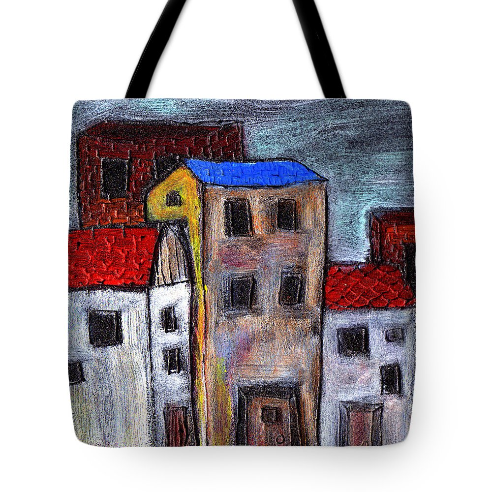 City Scene Tote Bag featuring the painting Alley Doors by Wayne Potrafka
