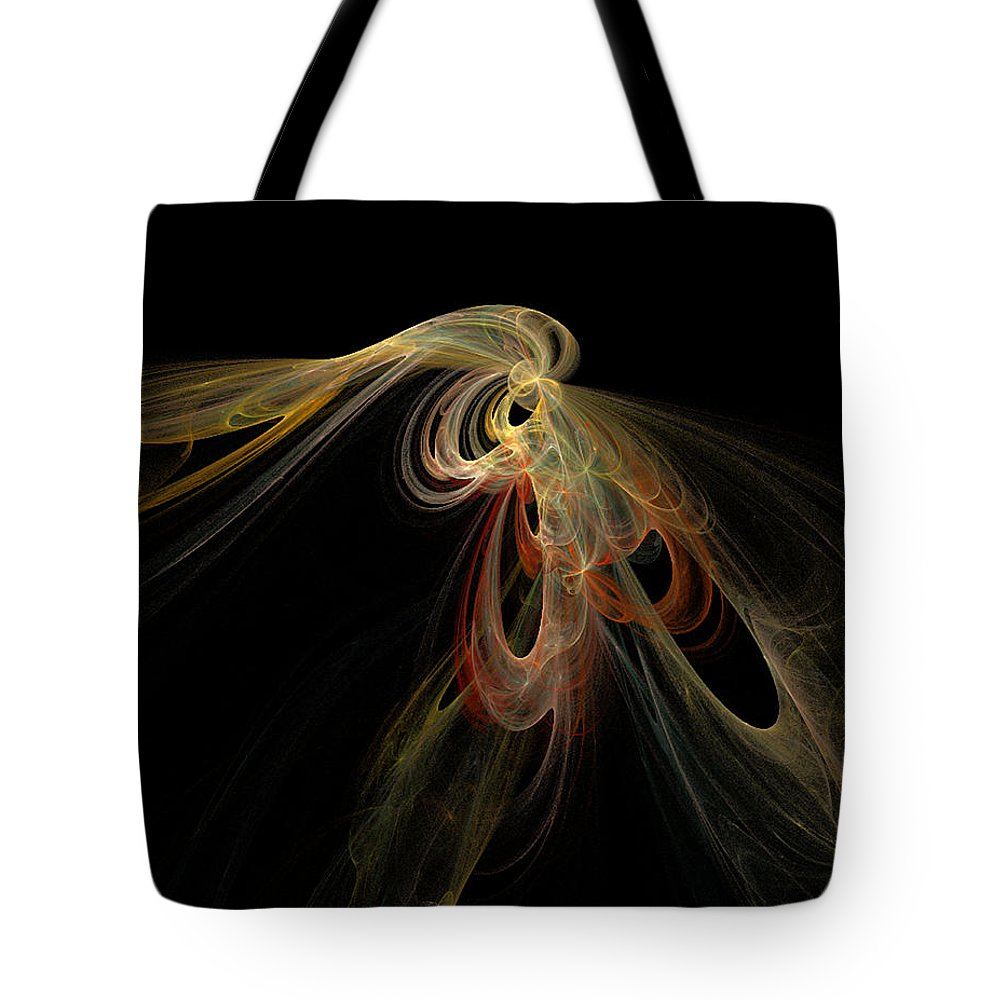 Abstract Digital Art Colorful Print Original Saskatchewan Artist Gold Yellow Brown Orange Collectors Gallery Images Tote Bag featuring the digital art Allure by Andrea Lawrence