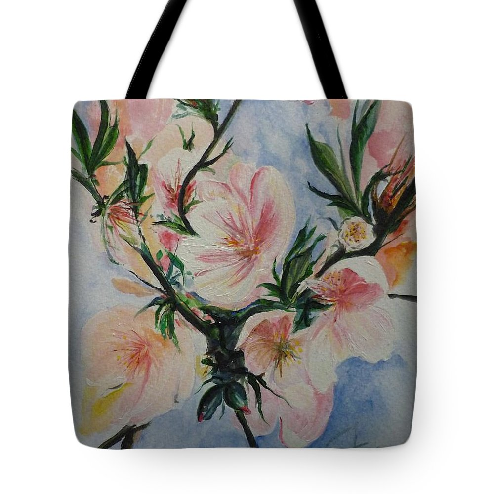 Flowers Tote Bag featuring the painting Almond Blossom by Lizzy Forrester