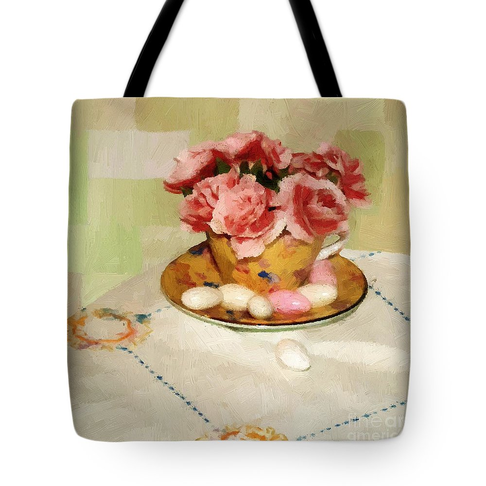 Almonds Tote Bag featuring the painting Almond Blossom Tea by RC DeWinter