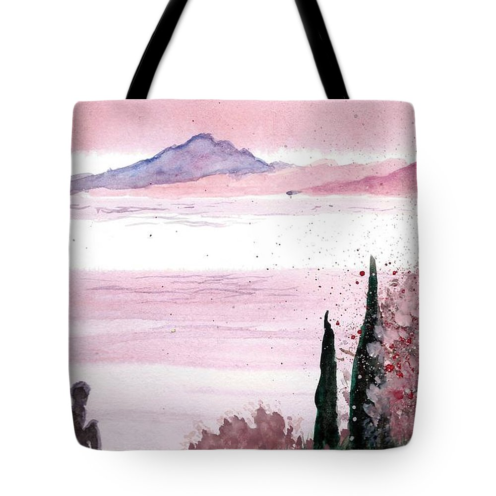 Tote Bag featuring the painting Almond Tree By The Sea by Amadrys Art