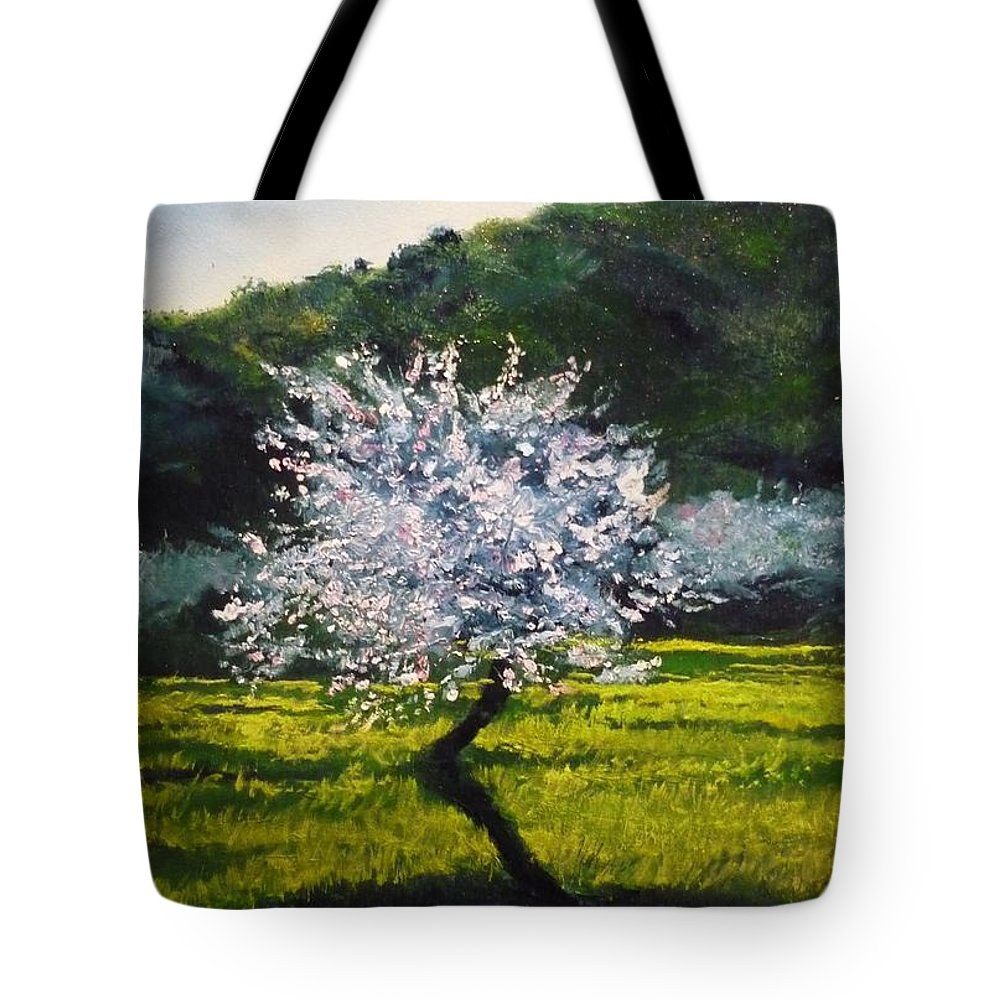 Almond Tree Tote Bag featuring the painting Almond Tree In Blossom by Lizzy Forrester
