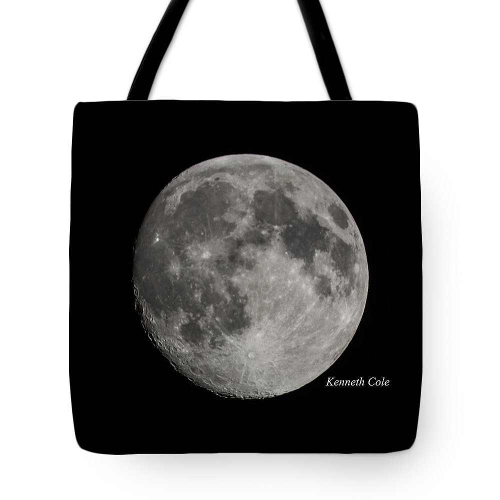Almost A Full Moon Photograph Tote Bag featuring the photograph Almost Full Moon by Kenneth Cole