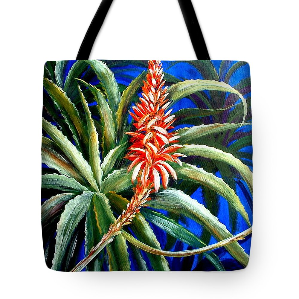 Garden Tote Bag featuring the painting Aloe In Bloom by Patricia Rachidi