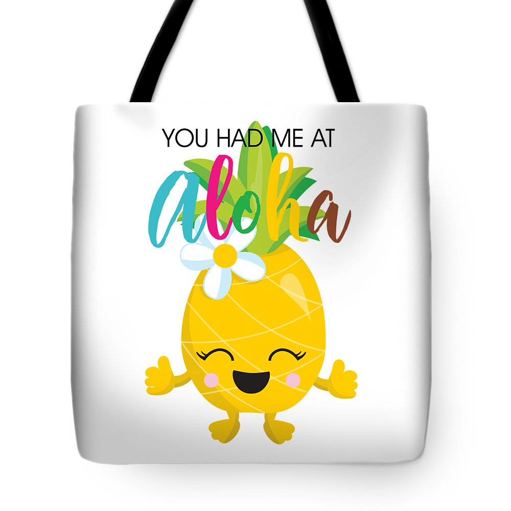 Pineapple Tote Bag featuring the digital art Aloha by Alyssa Phillips